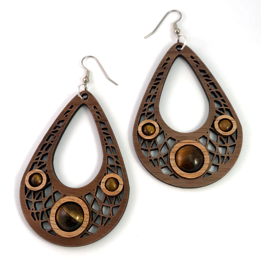 Tigers Eye Dreamcatcher Teardrop Sustainable Wooden Gemstone Earrings - Available in 4 wood types