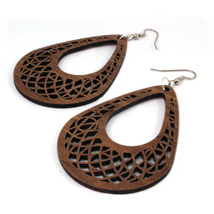 Teardrop Dreamcatcher Sustainable Wooden Earrings - Available in 2 sizes and 4 wood types