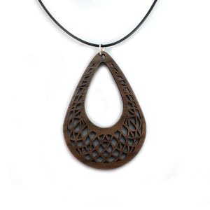 Teardrop Dreamcatcher Sustainable Wooden Pendant - Available in 2 sizes and 4 wood types