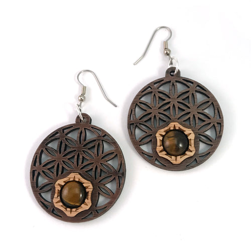 Tigers Eye Flower of Life Sustainable Wooden Gemstone Earrings - Available in 4 wood types