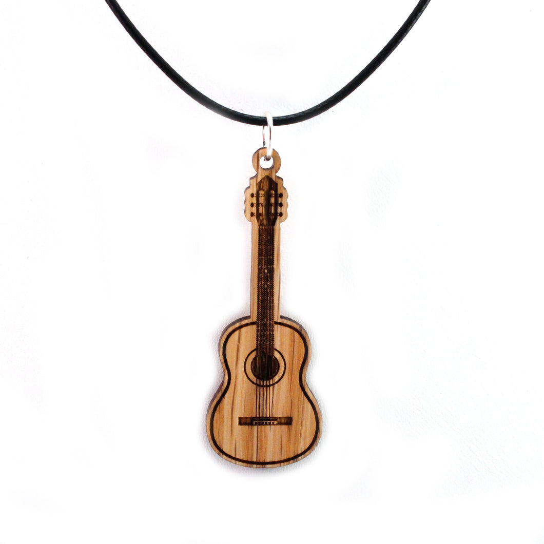 Acoustic Guitar Sustainable Wooden Pendant - Available in 2 sizes