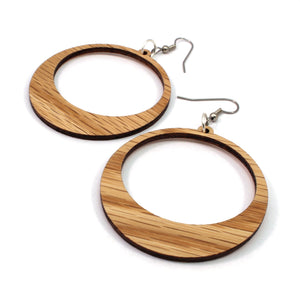 Simple Hoop Sustainable Wooden Earrings - Available in 2 sizes and 4 wood types