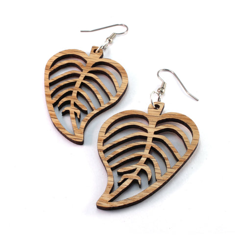 Leaves Sustainable Wooden Earrings - Available in 3 sizes and 4 wood types