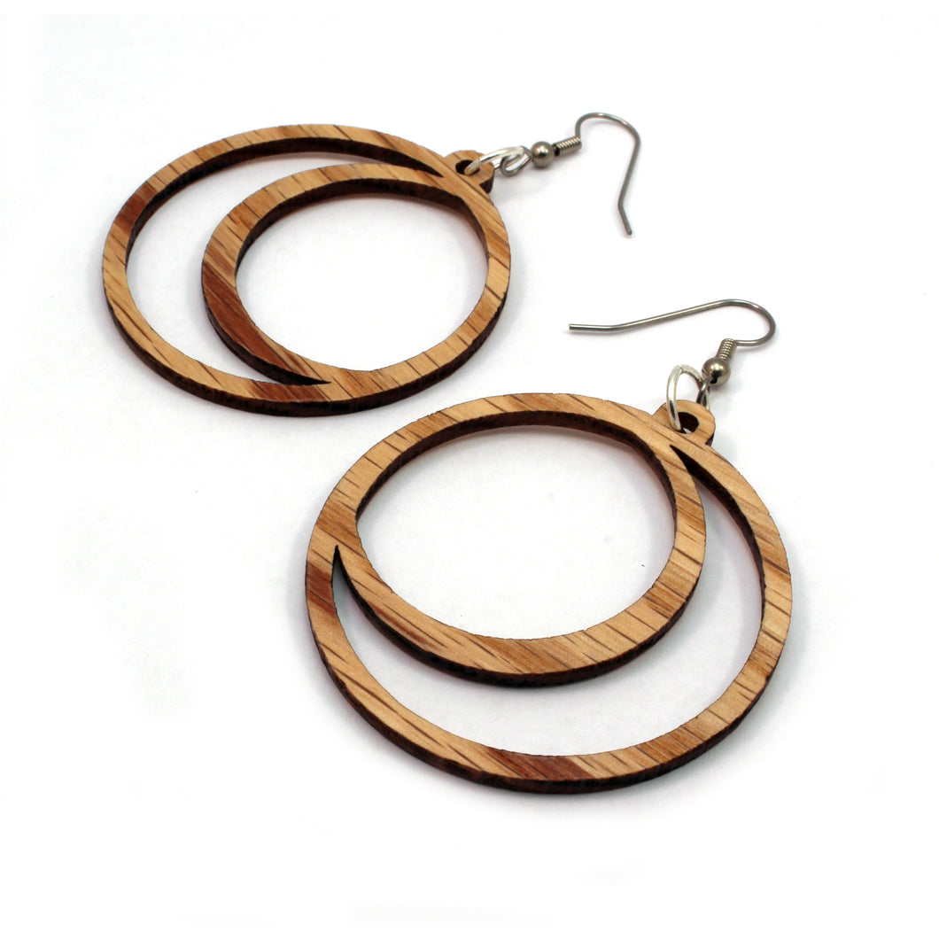 Crescent Hoop Sustainable Wooden Earrings - Available in 2 sizes and 4 wood types