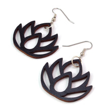 Load image into Gallery viewer, Lotus Flower Sustainable Wooden Earrings - Available in 2 sizes and 4 wood types