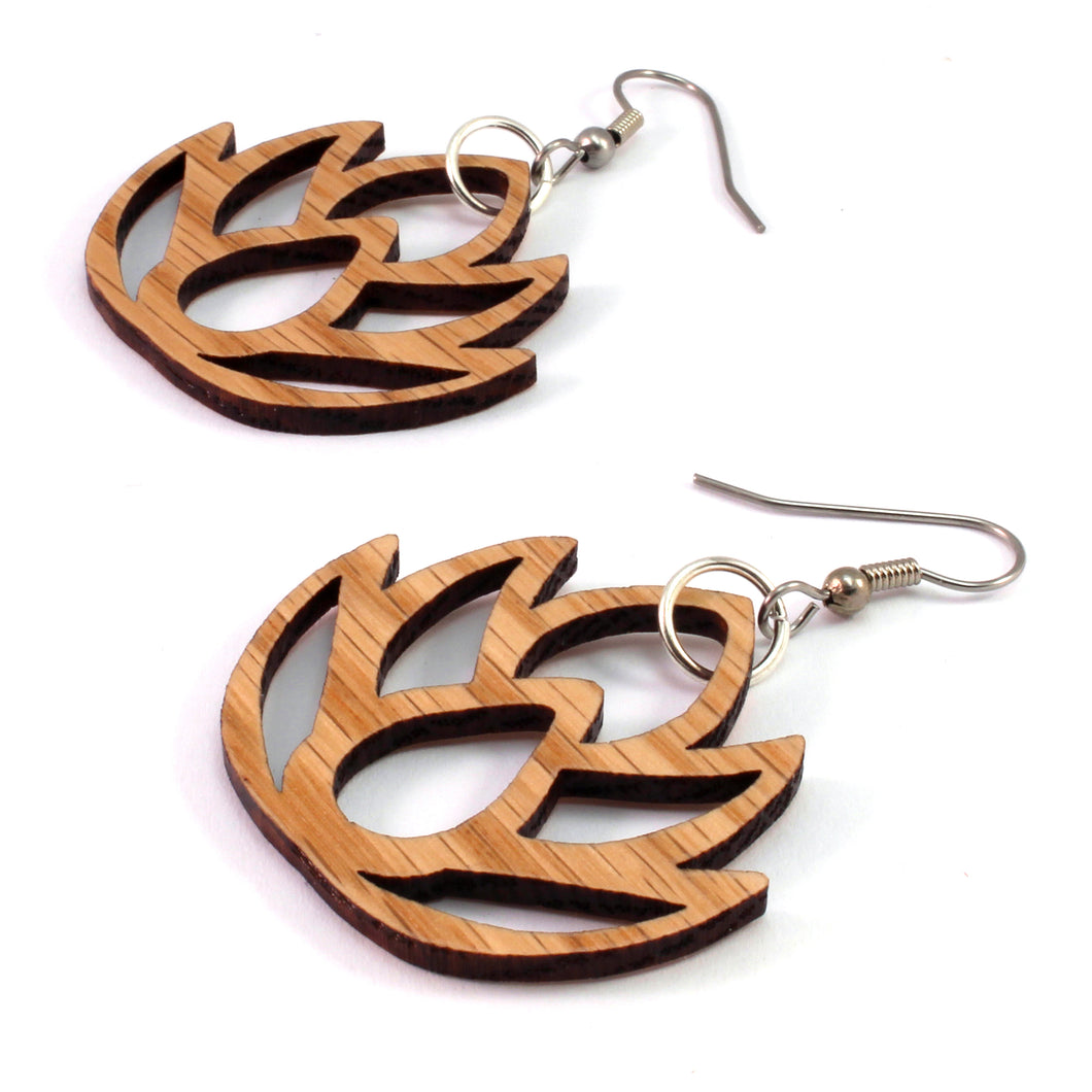 Lotus Flower Sustainable Wooden Earrings - Available in 2 sizes and 4 wood types