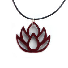 Load image into Gallery viewer, Lotus Flower Sustainable Wooden Pendant - Available in 2 sizes and 4 wood types