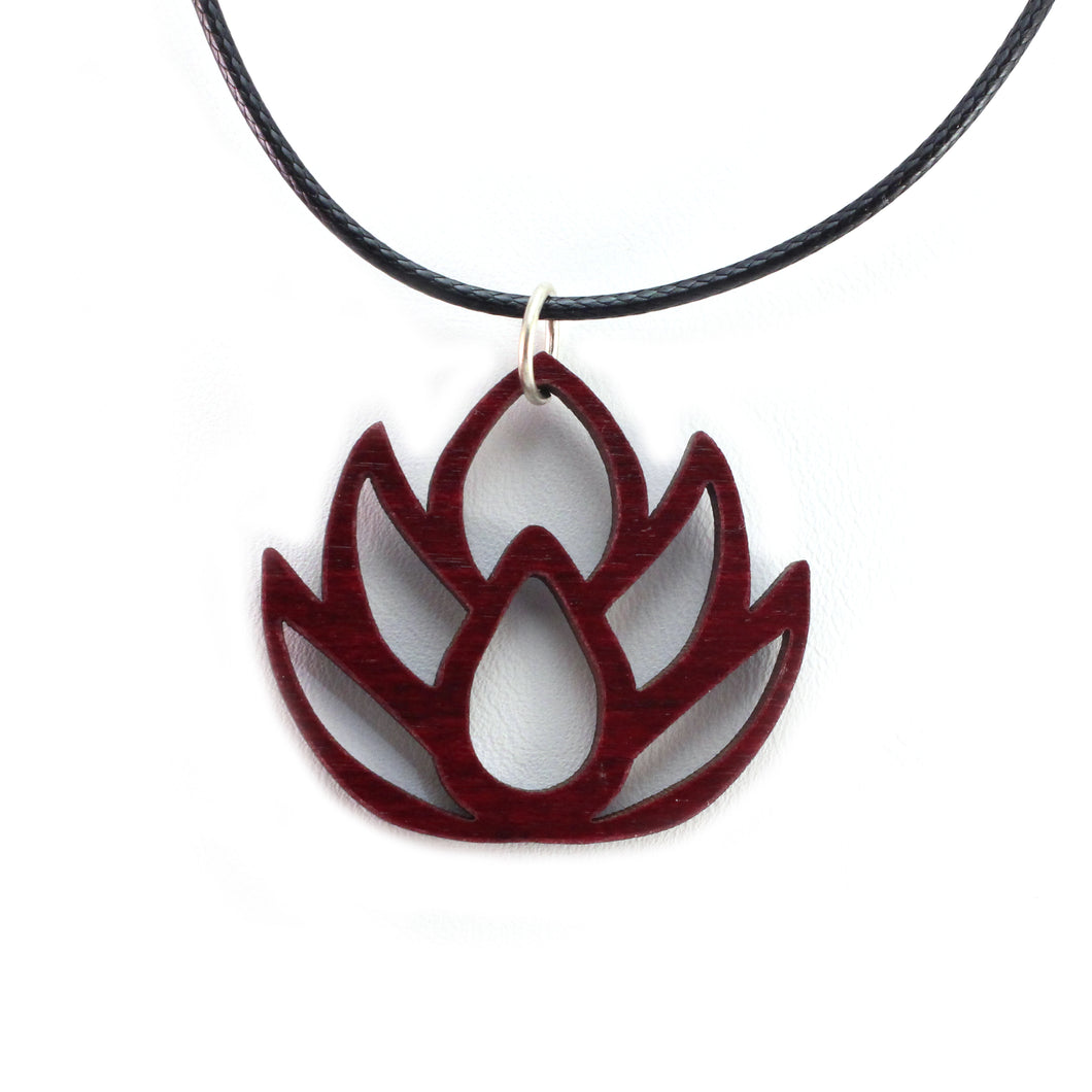 Lotus Flower Sustainable Wooden Pendant - Available in 2 sizes and 4 wood types