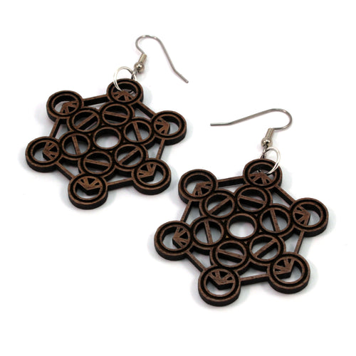 Metatron's Cube Sustainable Wooden Earrings - Available in 4 wood types