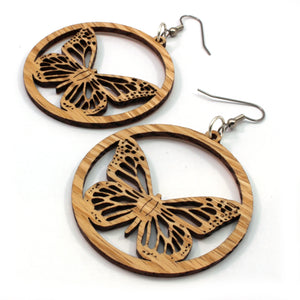 Monarch Butterfly Sustainable Wooden Earrings - Available in 2 sizes and 4 wood types