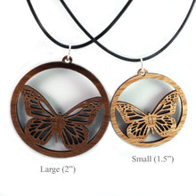 Load image into Gallery viewer, Monarch Butterfly Sustainable Wooden Pendant - Available in 2 sizes and 4 wood types