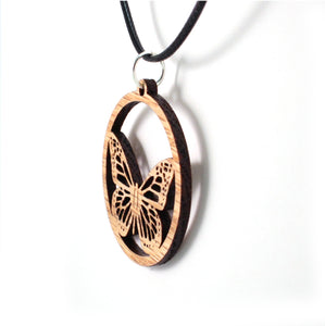 Monarch Butterfly Sustainable Wooden Pendant - Available in 2 sizes and 4 wood types
