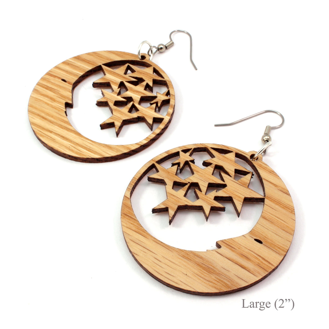 Moon and Stars Sustainable Wooden Earrings - Available in 2 sizes and 4 wood types