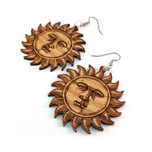 Load image into Gallery viewer, Sun Face Sustainable Wooden Earrings - Available in 2 sizes and 2 wood types