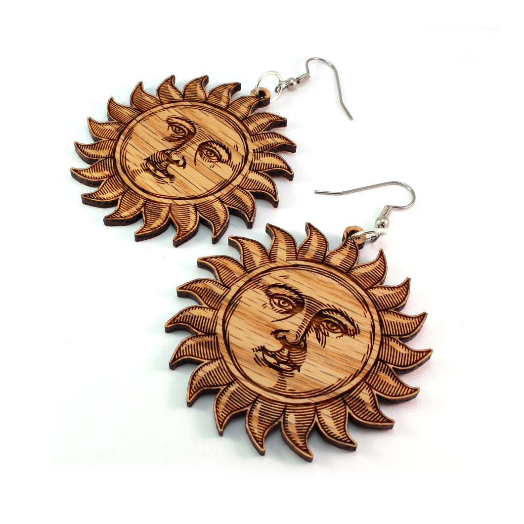 Sun Face Sustainable Wooden Earrings - Available in 2 sizes and 2 wood types