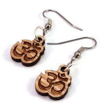 Load image into Gallery viewer, Om Symbol Sustainable Wooden Earrings - Available in 3 sizes and 4 wood types