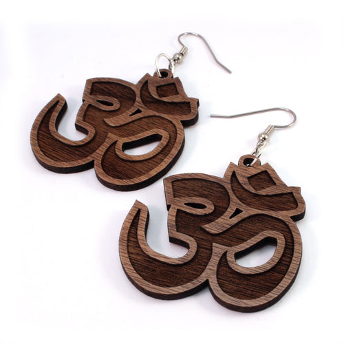 Om Symbol Sustainable Wooden Earrings - Available in 3 sizes and 4 wood types