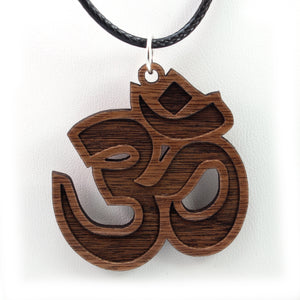 Om Symbol Sustainable Wooden Pendant - Available in 2 sizes and 4 wood types