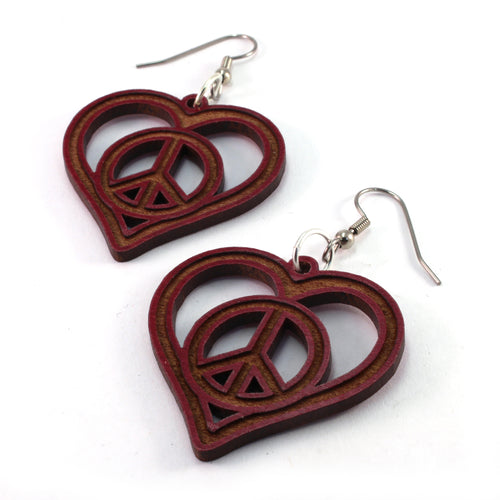Peace and Love Sustainable Wooden Earrings - Available in 4 wood types
