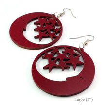 Load image into Gallery viewer, Moon and Stars Sustainable Wooden Earrings - Available in 2 sizes and 4 wood types