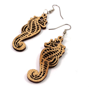 Seahorse Sustainable Wooden Earrings - Available in 4 wood types