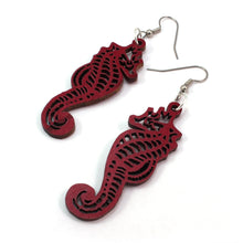 Load image into Gallery viewer, Seahorse Sustainable Wooden Earrings - Available in 4 wood types
