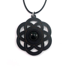 Load image into Gallery viewer, Black Onyx Seed of Life Sustainable Wooden Gemstone Pendant - Available in 4 wood types