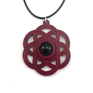 Black Onyx Seed of Life Sustainable Wooden Gemstone Pendant - Available in 4 wood types