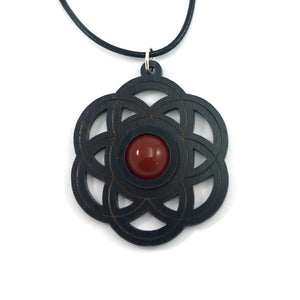 Carnelian  Seed of Life Sustainable Wooden Gemstone Pendant - Available in 4 wood types