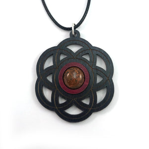 Chrysanthemum Seed of Life Sustainable Wooden Gemstone Pendant - Available in 4 wood types