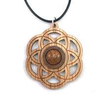 Load image into Gallery viewer, Chrysanthemum Seed of Life Sustainable Wooden Gemstone Pendant - Available in 4 wood types