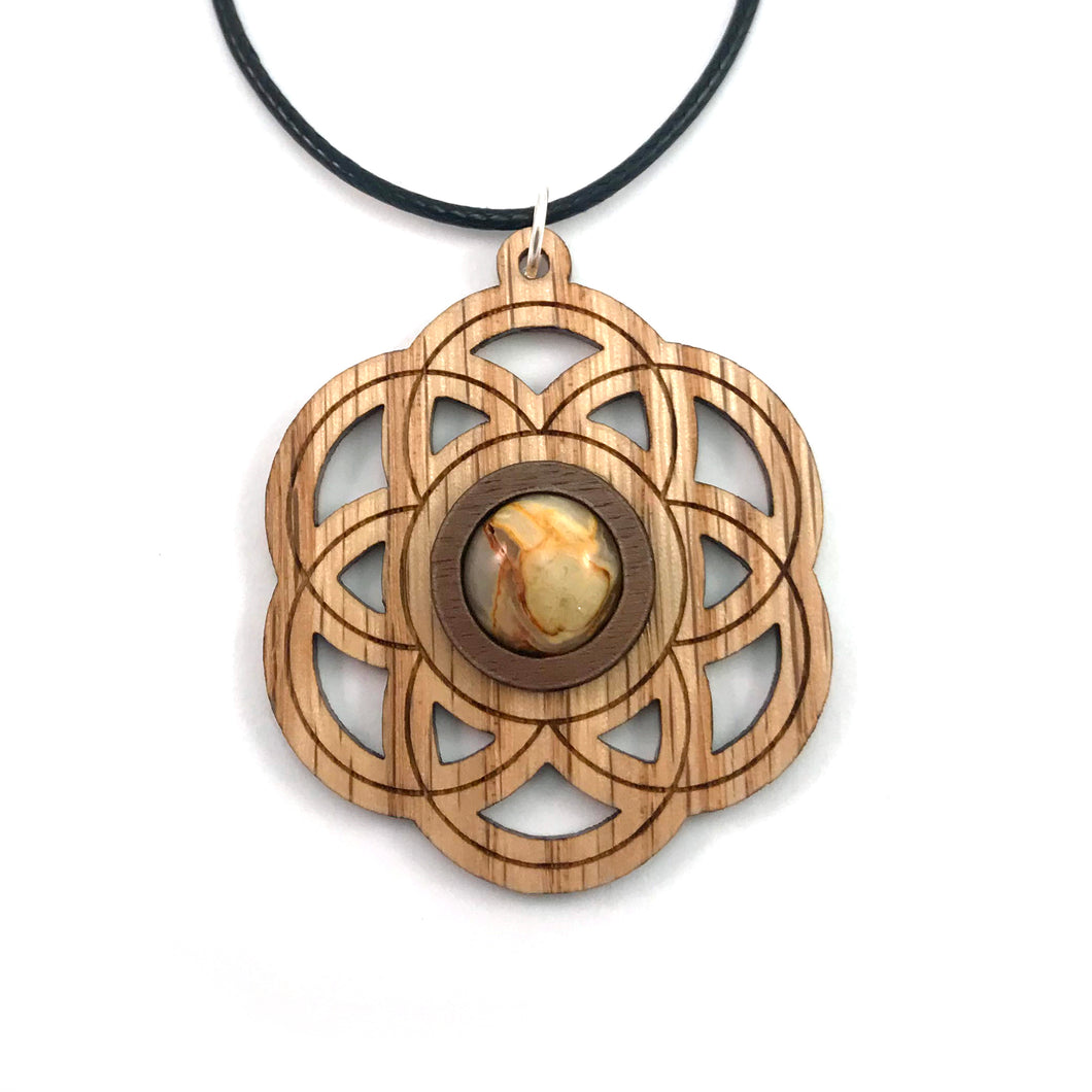 Crazy Lace Agate Seed of Life Sustainable Wooden Gemstone Pendant - Available in 4 wood types