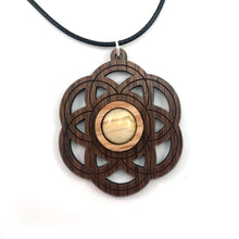 Load image into Gallery viewer, Crazy Lace Agate Seed of Life Sustainable Wooden Gemstone Pendant - Available in 4 wood types