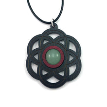 Load image into Gallery viewer, Green Aventurine Seed of Life Sustainable Wooden Gemstone Pendant - Available in 4 wood types