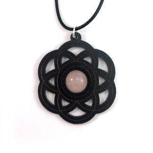 Rose Quartz Seed of Life Sustainable Wooden Gemstone Pendant - Available in 4 wood types