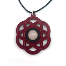 Load image into Gallery viewer, Rose Quartz Seed of Life Sustainable Wooden Gemstone Pendant - Available in 4 wood types