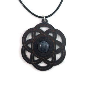 Sodalite Seed of Life Sustainable Wooden Gemstone Pendant - Available in 4 wood types