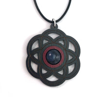 Load image into Gallery viewer, Sodalite Seed of Life Sustainable Wooden Gemstone Pendant - Available in 4 wood types