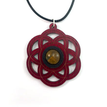 Load image into Gallery viewer, Tiger's Eye Seed of Life Sustainable Wooden Gemstone Pendant - Available in 4 wood types