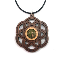 Load image into Gallery viewer, Unakite Seed of Life Sustainable Wooden Gemstone Pendant - Available in 4 wood types