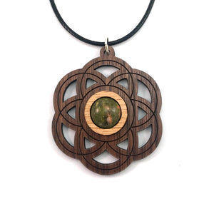 Unakite Seed of Life Sustainable Wooden Gemstone Pendant - Available in 4 wood types