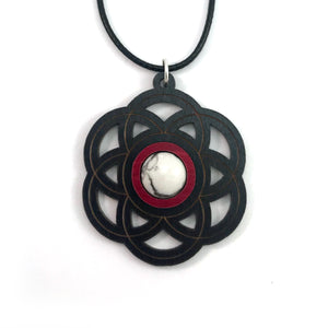 White Howlite Seed of Life Sustainable Wooden Gemstone Pendant - Available in 4 wood types