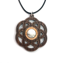 Load image into Gallery viewer, White Howlite Seed of Life Sustainable Wooden Gemstone Pendant - Available in 4 wood types