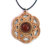 Load image into Gallery viewer, Carnelian  Seed of Life Sustainable Wooden Gemstone Pendant - Available in 4 wood types