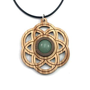 Green Aventurine Seed of Life Sustainable Wooden Gemstone Pendant - Available in 4 wood types