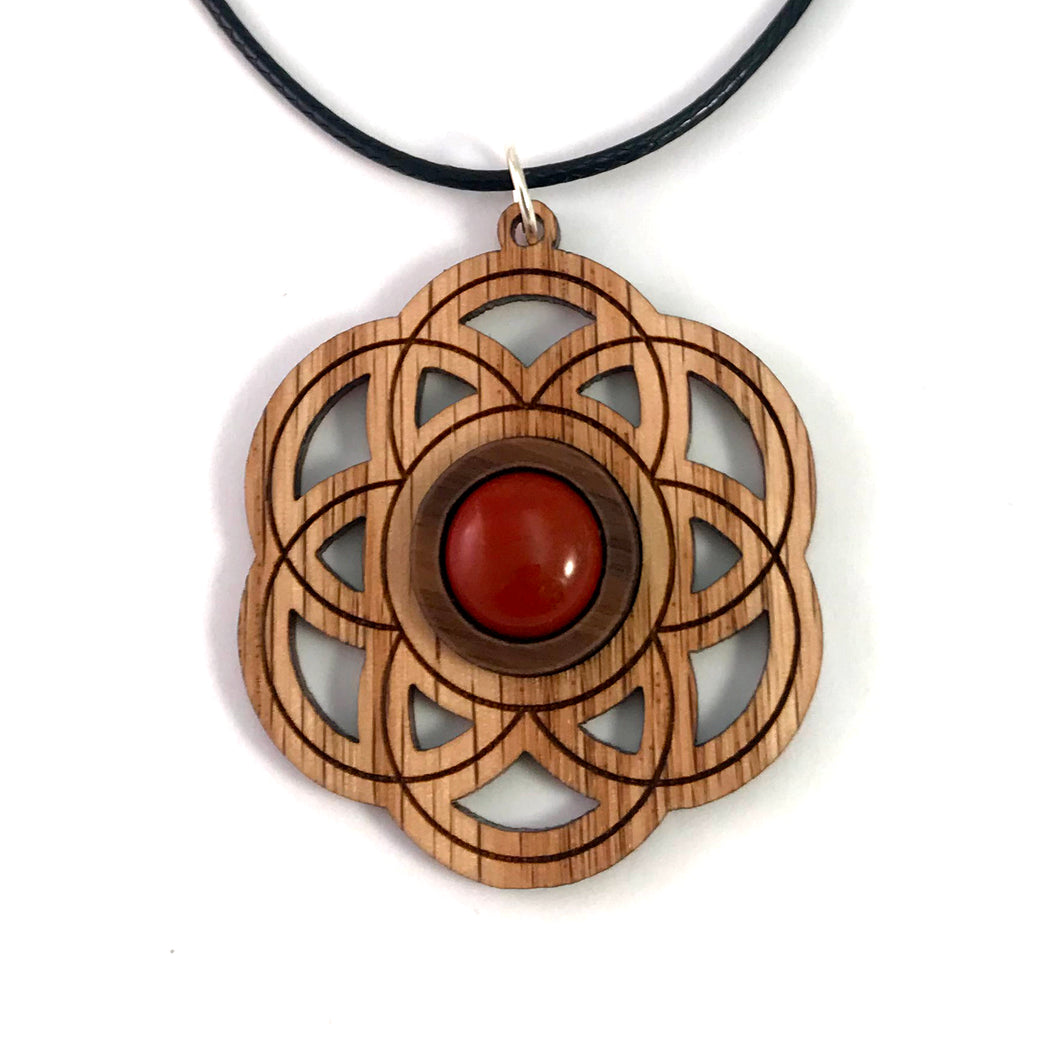 Red Jasper Seed of Life Sustainable Wooden Gemstone Pendant - Available in 4 wood types