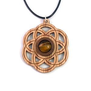 Tiger's Eye Seed of Life Sustainable Wooden Gemstone Pendant - Available in 4 wood types