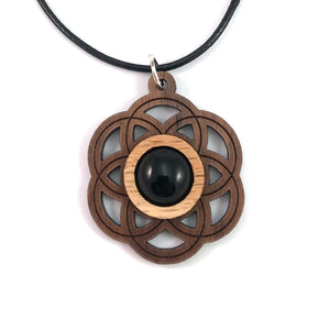Black Onyx Seed of Life (Small) Sustainable Wooden Gemstone Pendant - Available in 4 wood types
