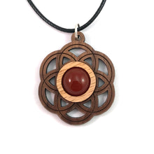 Load image into Gallery viewer, Carnelian Seed of Life (Small) Sustainable Wooden Gemstone Pendant - Available in 4 wood types