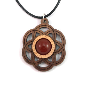 Carnelian Seed of Life (Small) Sustainable Wooden Gemstone Pendant - Available in 4 wood types